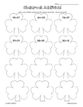 Shamrock Addition Practice Worksheet--Adding 2 + 1 Digits