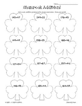 Shamrock Addition Worksheets--Leveled Practice Worksheet Pack, 2 and 3 digit