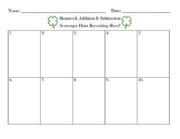 Shamrock Addition and Subtraction Recording Sheet