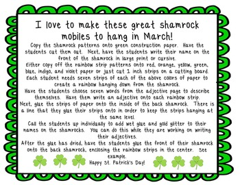 Shamrock  Adjectives -  a fun mobile for March!