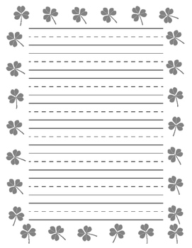 Shamrock Border Primary Lined Paper for St. Patrick's Day