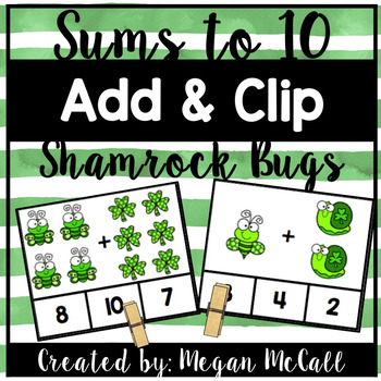 Shamrock Bugs-Add and Clip (Sums within 10)