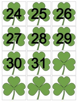 March Shamrock Calendar Cards