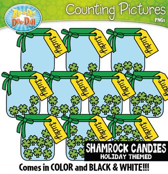 Shamrock Candies Counting Pictures Clipart {Zip-A-Dee-Doo-Dah Designs}
