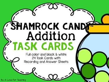 Shamrock Candy Addition Task Cards