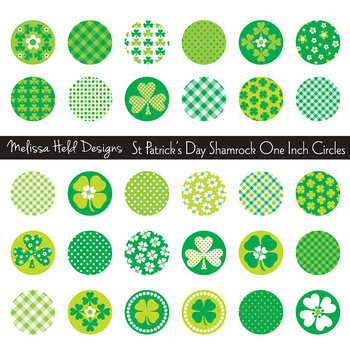 Shamrock One Inch Circles Clipart