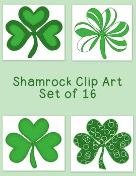 Shamrock Clip Art Bundle St. Patrick's Day PNG JPG Blackli