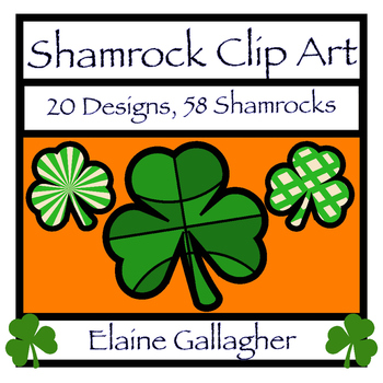Shamrock Clip Art for St. Patrick's Day - 20 Designs - 58 Shamrocks