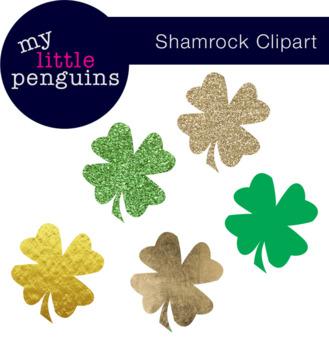 Shamrock Clipart (Glitter included)
