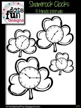 Shamrock Clocks: Black and White ~Dots of Fun Designs~