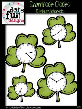 Shamrock Clocks: Color in 5 Minute Intervals ~Dots of Fun Designs~