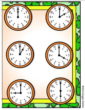 Shamrock Clocks Hour File Folder Game
