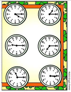 Shamrock Clocks Quarter Past File Folder Game