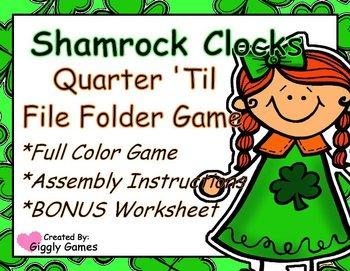 Shamrock Clocks Quarter 'Til File Folder Game