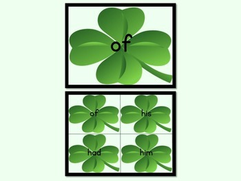 Shamrock Clover Dolch First Grade Sight Word Posters and Flashcards