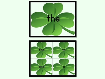 Shamrock Clover Dolch Pre-Primer Sight Word Posters and Flashcards