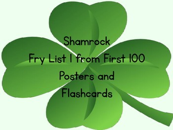 Shamrock Clover Fry List 1 From 1st 100 Sight Word Posters