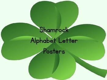 Shamrock Clover Full Page Alphabet Letter Posters Uppercas