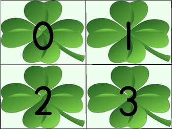 Shamrock Clover Number Flashcards 0-100