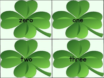 Shamrock Clover Number Word Flashcards 0-100
