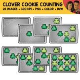 Shamrock Cookie Counting Scene Clipart