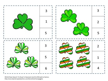 St. Patrick's Day Counting to 20 Task Cards Kindergarten Autism Math Centers