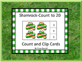 St. Patrick's Day Math Activity Counting to 20 Kindergarten Count and Clip Cards