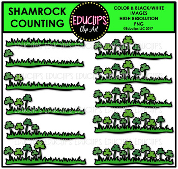 Shamrock Counting Clip Art Bundle  {Educlips Clipart}