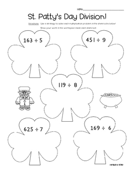 Shamrock Division - Math Leveled Practice for Division of Larger Numbers