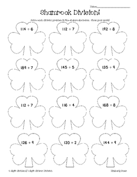 Shamrock Division Math Practice Worksheet--Dividing 2-digit by 1-digit