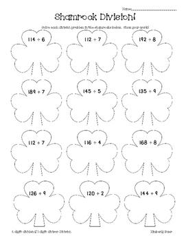 Shamrock Division Math Practice Worksheet--Dividing 2-digi