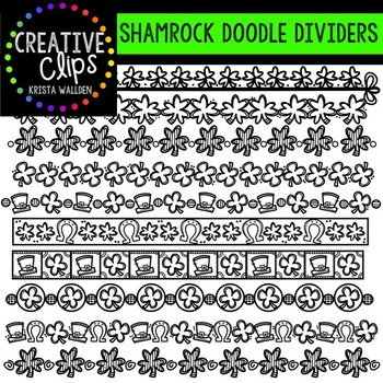 Shamrock Doodle Dividers {Creative Clips Digital Clipart}