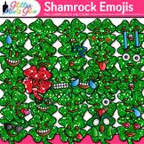 Shamrock Emoji Clip Art {St. Patrick's Day Emoticon, Smile
