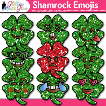 Shamrock Emoji Clip Art {St. Patrick's Day Emoticon, Smiley Faces for Brag Tags}