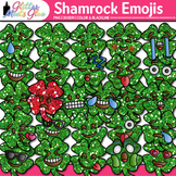 Shamrock Emoji Clip Art | St. Patrick's Day Emoticon, Smiley Faces for Brag Tags