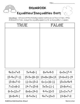 Shamrock Equalities/Inequalities Sort--Addition, Subtraction Mixed