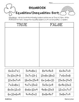 Shamrock Equalities/Inequalities Sort--Addition, Subtracti