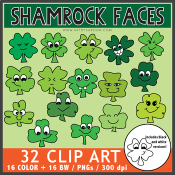 Shamrock Faces Clip Art