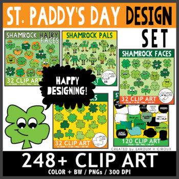 Shamrock Faces Clip Art