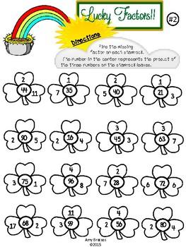 "Shamrock Factors-  St. Patrick's Day ""Missing Factor"" Multiplication Activities"