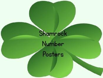 Shamrock Four Leaf Clover Full Page Number Posters 0-100