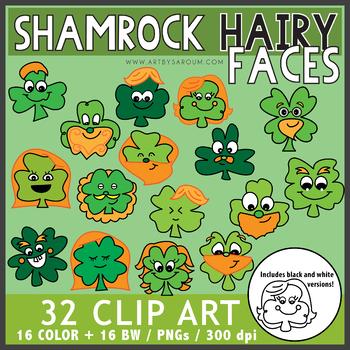 Shamrock Hairy Faces Clip Art