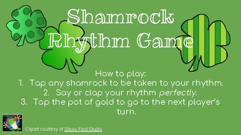 Shamrock Interactive Rhythm Game (Quarter Note, Eighth Notes, Quarter Rest)