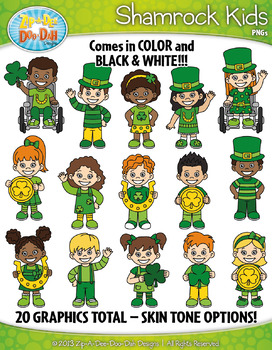 St. Patrick's Day Shamrock Kids Clipart {Zip-A-Dee-Doo-Dah Designs}