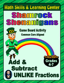 St. Patrick's Day Math Skills & Learning Center; Add & Subtract Unlike Fractions