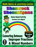 St. Patrick's Day Math Skills & Learning Center (Improper Fractions & Mixed #'s)