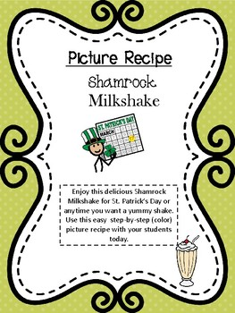 Shamrock Shake--Picture Recipe- For Special Education and Autism