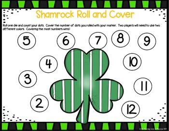 Shamrock Math Center Freebie:  Roll & Cover