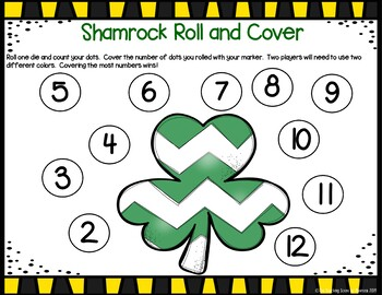 Shamrock Roll & Cover Math Game {FREE}