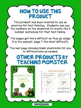 Shamrock Math Fact Families Multiplication